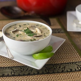 Thai coconut chicken soup: A flavorful sweet and savory dish with tangy lemon grass and mushrooms. |ethnicspoon.com