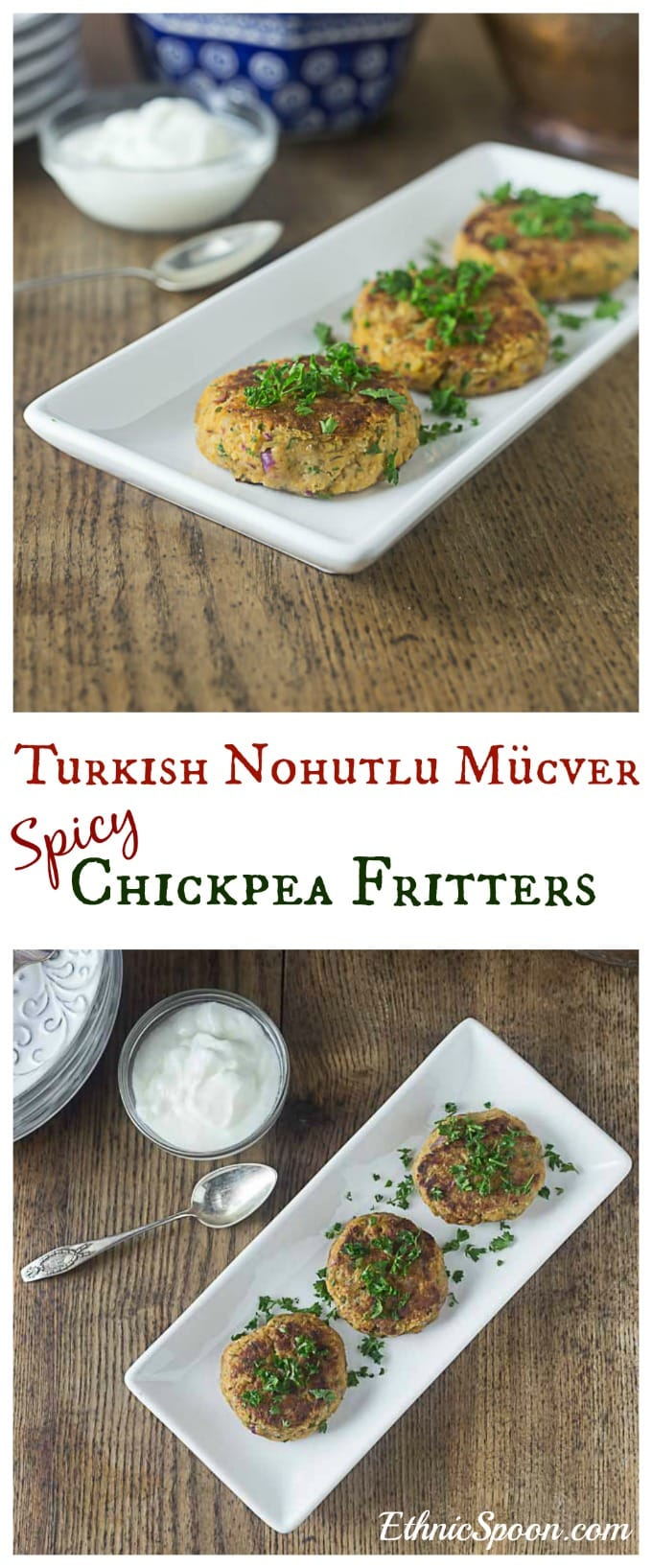 Easy and exotic Turkish nohutlu mücver: Spicy chickpea fritters or burgers | ethnicspoon.com #chickpeaburgers #veganburgers #turkishfood