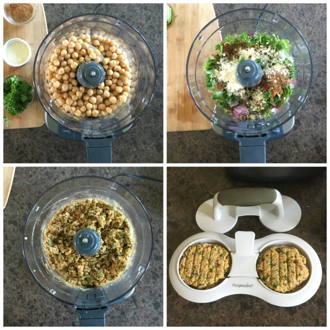 Here are the steps to make Turkish chickpea fritters or nohutlu mücver in your food processor. | ethnicspoon.com