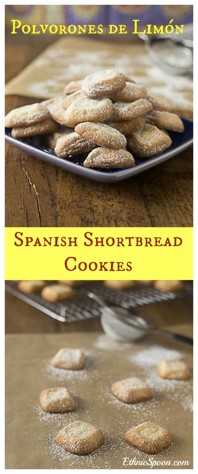 Spanish Christmas cookies: Polvorones de Limón. You will love shortbread with a hint of lime! A really simple unique cookie for the holidays. | ethnicspoon.com #spanishshortbread #lemonshortbread #spanishcookies