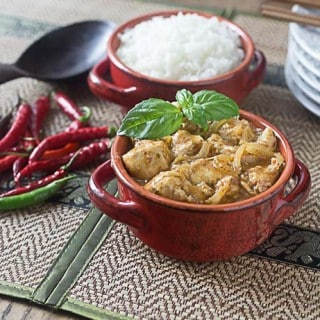Sweet and savory amazing Thai red curry chicken with coconut milk and a bit of heat. A quick and super easy recipe! | ethnicspoon.com