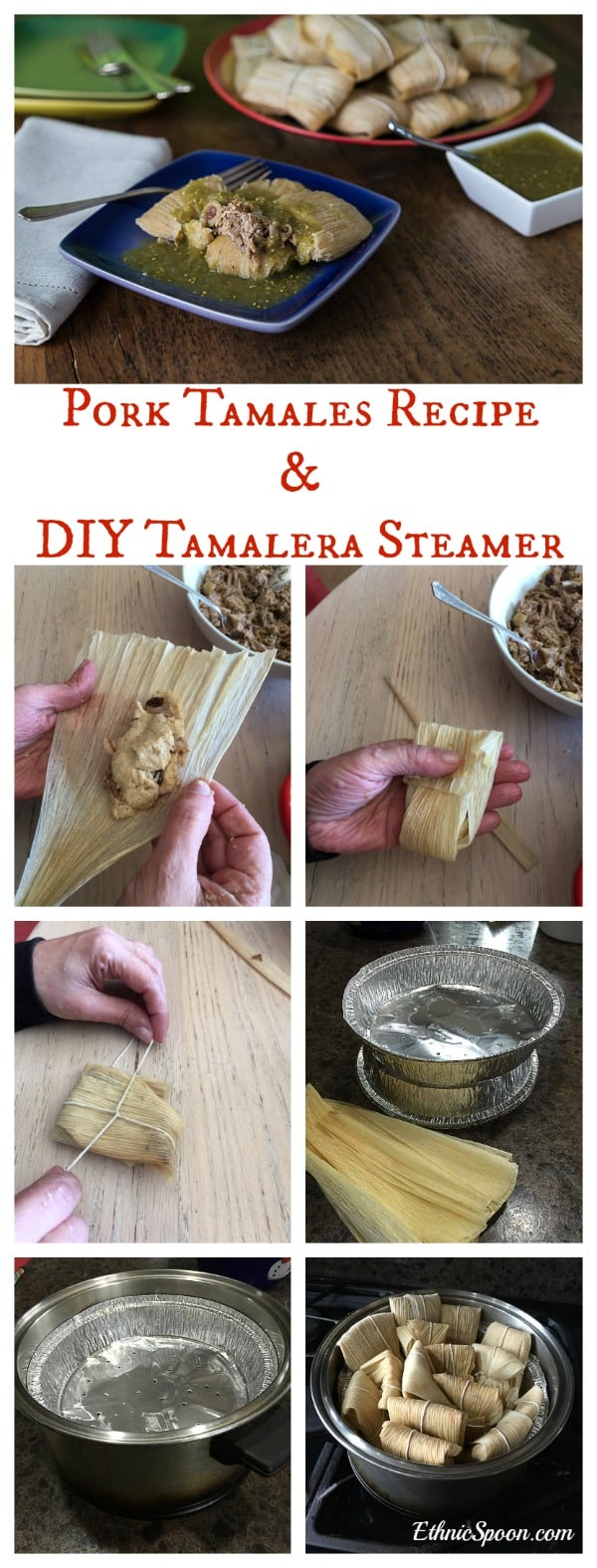 One of my Latin holiday favorite recipes: Pork tamales with salsa verde! Please I really cool kitchen hack to make your own tamale steamer with pie tins! |ethnicspoon.com