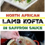 A collage of photos showing lamb kofta on a white place and cooking in a red pan.