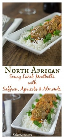 Saucy and spicey North African lamb meatballs with arpicots, almonds and saffron. A quick and easy weeknight meal in less than 1 hour!