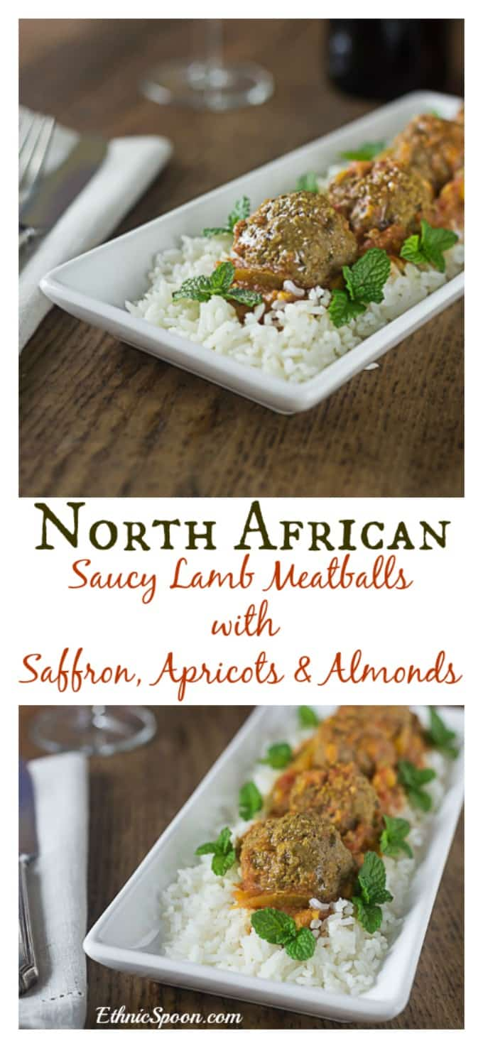 Saucy and spicy North African lamb meatballs with apricots, almonds and saffron. A quick and easy weeknight meal in less than 1 hour!