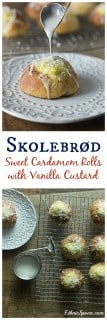 Skolebrød or skolleboller buns are a sweet pastry with cardamom, filled with vanilla custard and topped off with a glaze and chopped coconut.   ethnicspoon.com