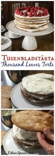 A traditional Swedish Tusenbladstårta, translated means thousand leaves torte or in English spelled as Tusenbladstarta. cinnamon flavored flakey pastry surrounded by vanilla custard cream. My family's favorite Christmas dessert! | ethnicspoon.com