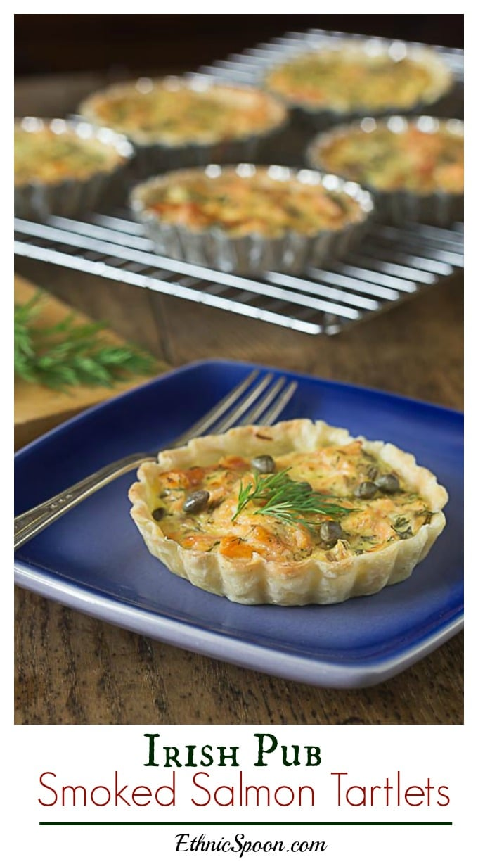 Irish pub style salmon tartlets are creamy and delicious! My family's St. Patrick's Day favorite! | ethnicspoon.com #salmontartlet #savorypastry #irishfood