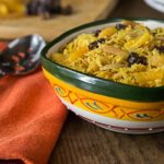 Fantastic flavors of sweet and savory basmati rice with almonds, apricots dates and sazon with saffron. A super simple dish with fantastic flavors! | ethnicspoon.com