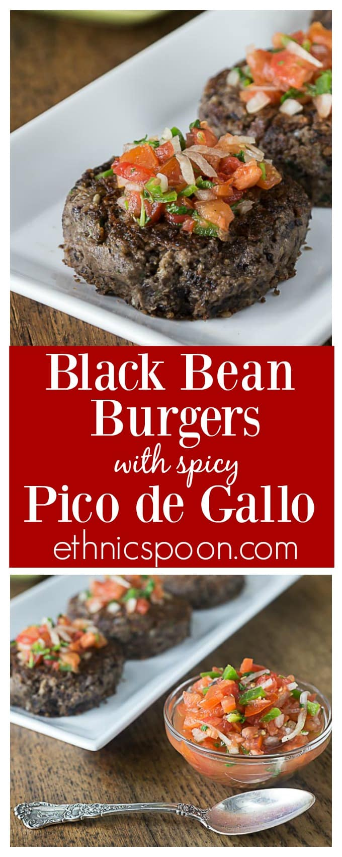 Black bean burgers with pico de gallo. Blend these up quick in the food processor! Vegan, Vegetarian and gluten free black bean burgers with my favorite spicy pico de gallo! Love these! | ethnicspoon.com  #veganburgers #veganlatinfood #latinburgers