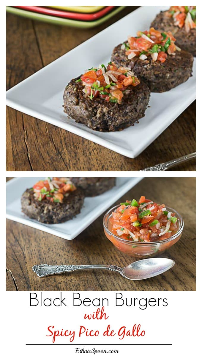 Super easy and tasty vegetarian and gluten free black bean burgers with spicy pico de gallo! Love these! | ethnicspoon.com