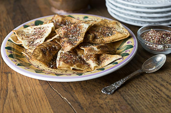 pita chips with zatar on a plate