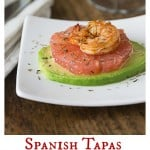 A delicious cold tapas dish for a hot day or make a large portion for a salad. Shrimp with grapefruit & avocado is a great balance of flavors. Sprinkle a little thyme for an herbal note too! | ethnicspoon.com