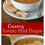 Voted the best ever tomato soup EVER by my family! Tomato basil bisque is rich and creamy! If you like tomato soup you will love this soup. Everyone loves a quick and easy recipe. I love to dunk my crispy grilled cheese sandwich in too! #tomatosoup #tomatobasilsoup #tomatobisque| ethnicspoon.com