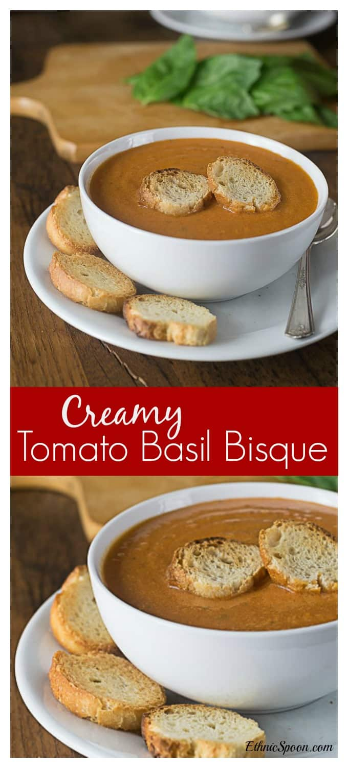 Voted the best tomato soup EVER by my family! Creamy tomato basil bisque is nice and rich! If you like tomato soup you will love this bisque. Everyone loves a quick and easy recipe. I love to dunk my crispy grilled cheese sandwich in it too! #tomatosoup #tomatobasilsoup #tomatobisque| ethnicspoon.com