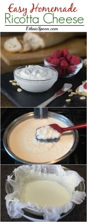 How to make homemade fresh ricotta cheese. This recipe so simple and the results are creamy smooth and delicious! Try it with a nice crostini and some raspberries! | ethnicspoon.com