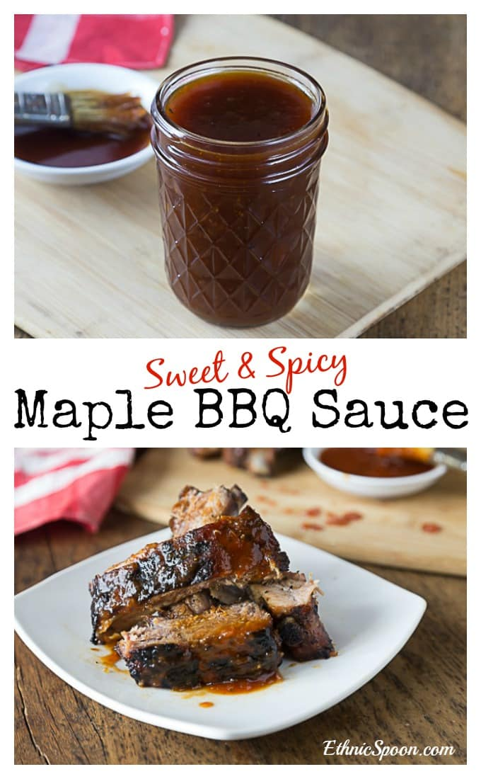 Sweet and spicy maple BBQ sauce with a little tangy flavor too. Get ready to grill and bring on the heat and sweet! It's great on ribs and pork chops! | ethnicspoon.com