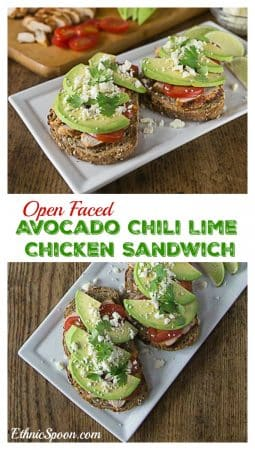 Try a Latin style open face sandwich. Layer some chili lime chicken with avocado, tomatoes and queso fresco for a healthy lunch or dinner! #VidaAguacate | ethnicspoon.com