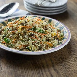 Anatolian Turkish style couscous salad with dates, apricots and pistachios. This makes a great summer dish served cold topped with some yogurt. A nice combination of sweet and savory. | ethnicspoon.com