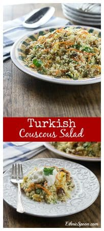 How about a nice cool summer salad! Try an Anatolian Turkish style couscous salad with dates, apricots and pistachios. Serve cold and top with some yogurt. A nice combination of sweet and savory. | ethnicspoon.com