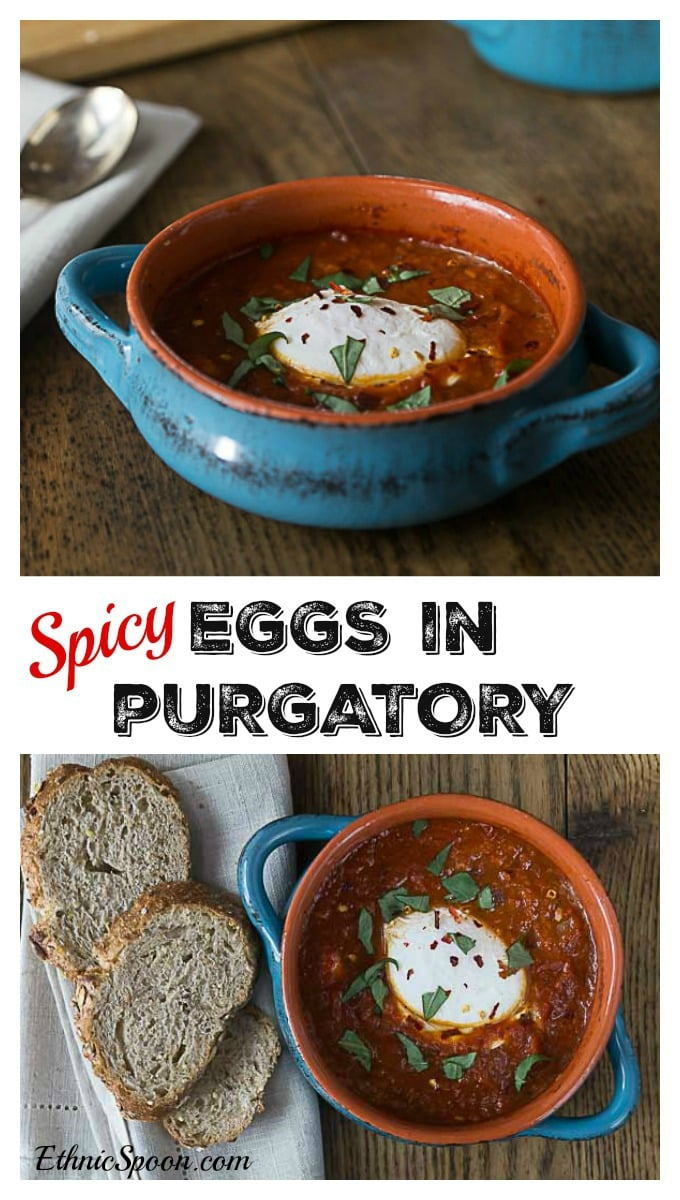 My favorite spicy egg dish! Saucy with some heat and delicious eggs in purgatory with fresh basil! Enjoy Prego® Farmers' Market #PickedAtPeak | ethnicspoon.com #eggsinpurgatory #poachedeggs
