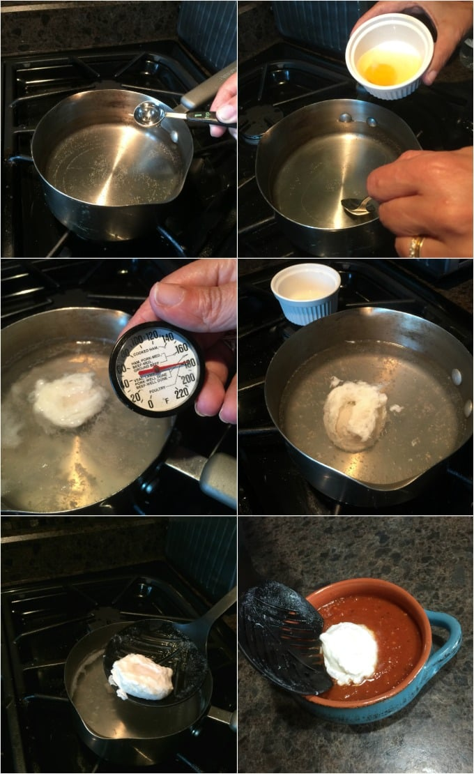 Steps to make the perfect poached egg for eggs in purgatory. Add 1 tsp vinegar, allow temperature to hit 180f. Swirl the water with a spoon as you drop in the egg. Cook for about 4 minutes. | ethnicspoon.com