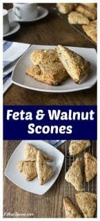 Serve these warm from the oven! They will melt in your mouth! Savory feta walnut scones bring a nice salty and nutty flavors. | ethnicspoon.com