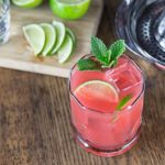 Tangy, tart and sweet guava lime cocktail refreshes on a hot day! Squeeze some limes, add tequila and guava juice and a sprig of mint! Simple and delicious | ethnicspoon.com