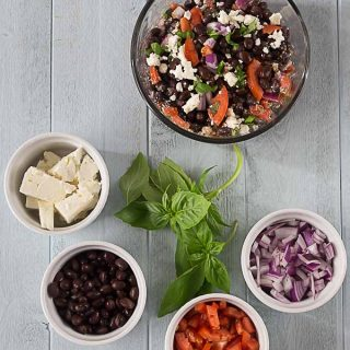 Black Beans, Feta, Basil, Red Onion, and Tomato Salad