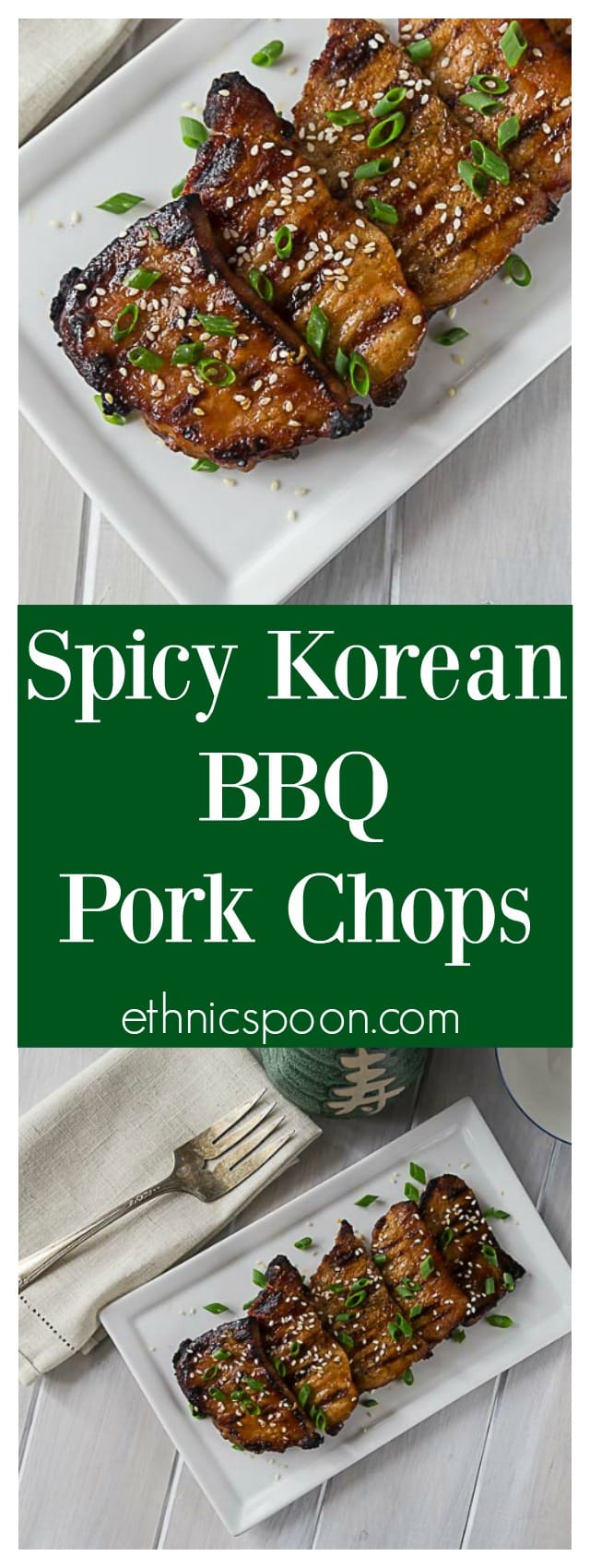 Tender and delicious grilled boneless pork chops in a spicy Korean BBQ sauce. A quick and easy weeknight meal! #GrillPorkLikeASteak #ad | ethnicspoon.com