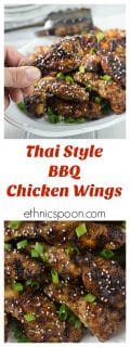 Spicy and saucy Thai style chicken wings will bring a tear to your eye! Baked them and finish on the grill for a nice crispy wing! Hot, sweet, salty & tangy! | ethnicspoon.com