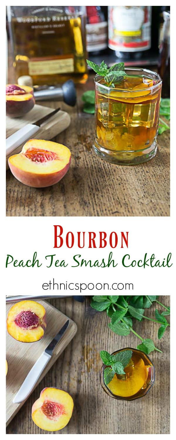 Enjoy a bourbon peach tea smash cocktail with rosemary infused simple syrup. Muddle some peach slices add simple syrup, bourbon and tea. Delicious! | ethnicspoon.com