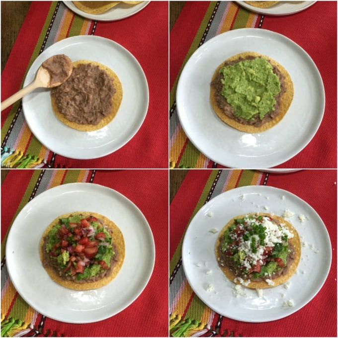 Here are the steps to construct your tostada with refried beans, guacamole, pico de gallo, lettuce and queso fresco. | ethnicspoon.com
