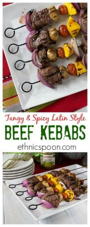 Mouthwatering juicy tender beef kebabs with a Latin twist! Marinated in HERDEZ® Salsa Verde, garlic, nutmeg, salt & oregano. ad | ethnicspoon.com