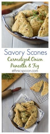 Bake some delicious and simple melt in your mouth savory scones with carmelized onion, pancetta and figs. You will love these for breakfast, lunch or dinner. | ethnicspoon.com
