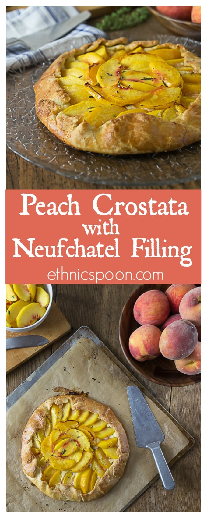 Simple and delicious! A rustic dessert that is so simple to make! Fresh peach crostata with a creamy Neufchatel filling! It one of my favorite farm to table desserts! | ethnicspoon.com
