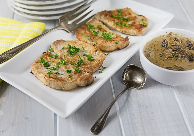 Sweet, creamy and delicious one pan pork chops in morel mushroom sauce. A simple pan sauce brings an exotic meal to the table in less than 30 minutes. | ethnicspoon.com