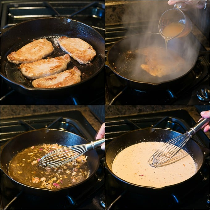 Steps to deglaze the pan and build a delicious creamy morel mushroom cream sauce. | ethnicspoon.com
