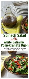A healthy and delicious white balsamic, pomegranate and dijon dressing pairs well with this spinach salad with raisins, almonds and tomatoes. You'll love this salad combo! | ethnicspoon.com