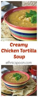 One of my favorite Mexican style soups. This is a super simple bowl of comfort food! Creamy chicken tortilla soup is cheesy, spicy and smooth to warm you on a cold day! Add some tortilla chips for some crunch too. | ethnicspoon.com
