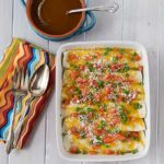 You will love these vegetarian spicy black bean enchiladas! Like Mexican food? These are bursting with flavor: Cumin, garlic, onions, cilantro, cheddar, green onion, tomato & queso fresco. Plus my enchilada sauce recipe too! | ethnicspoon.comn