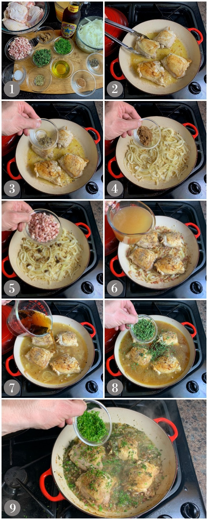 A collage of photos showing step to make beer braised chicken in a red pan on a stove top.