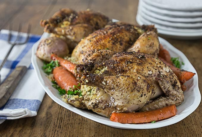 So simple to make! Tender and delicious Tyson® All Natural Premium Cornish Hens stuffed with couscous, dates, onions and parsley. So easy to make, roast right in your oven! #CheersToAPerfectPair ad |ethnicspoon.com
