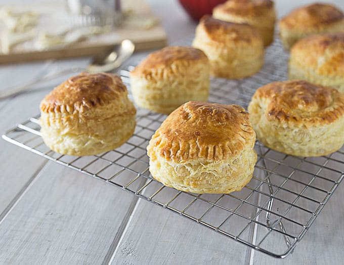 a closeup of chicken pastry puffs