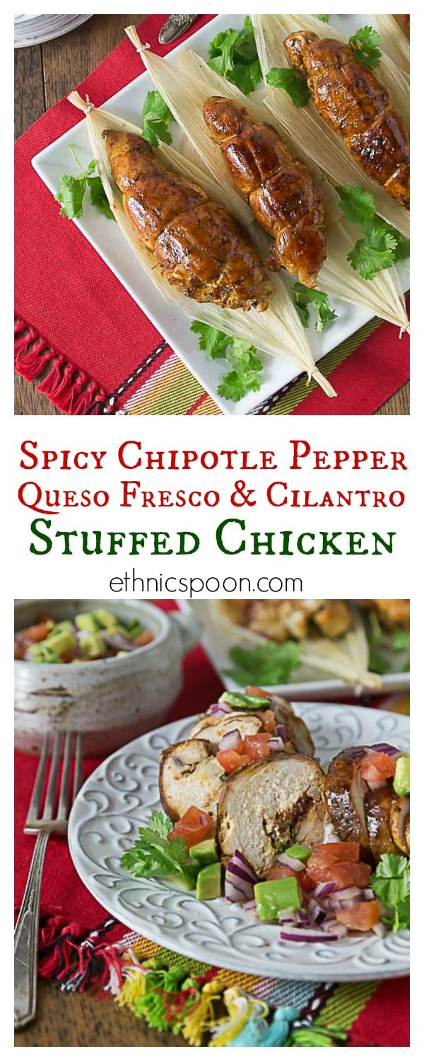 Try some spicy chicken breasts stuffed with chipotle peppers, queso fresco and cilantro! Que Rico este pollo! #LiveForFlavor #VivaLaMorena #AddFlavor #ad | ethnicspoon.com