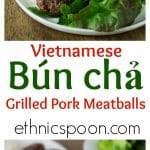 Bun cha is a traditional Vietnamese dish of grilled pork meatballs served with a delicious golden broth, a variety of fresh herbs, greens, and rice noodles.   ethnicspoon.com