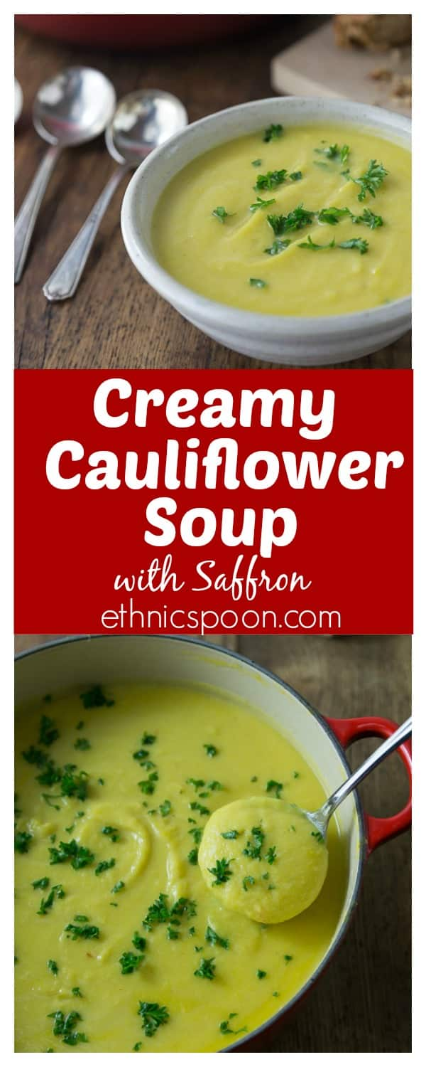 Quick and easy vegetarian creamy cauliflower soup with saffron. You ...