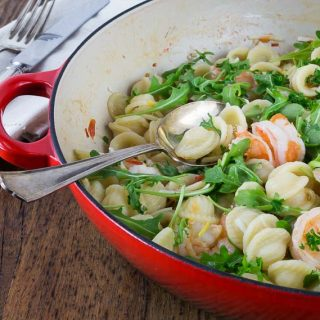 Orecchiette with Shrimp, Fennel and Arugula