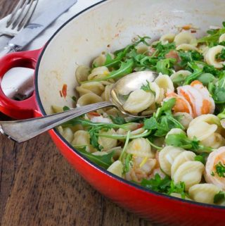 Orecchiette with shrimp, fennel and arugula brings bright fresh flavors in a 30 minute meal! Tasty shrimp, savory fennel and tangy arugula are a great flavor combination.| ethnicspoon.com