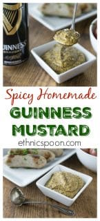 This mustard has some kick! Try a zesty Guinness whole grain homemade mustard with some real bite. This goes great with Irish bangers and mash. This is so simple to make and you only need a blender. | ethnicspoon.com